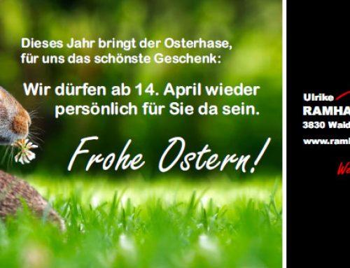 Wir öffnen wieder am 14. April!